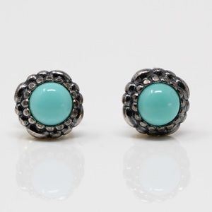 PANDORA 925 Birthday Blossom Turquoise Earrings